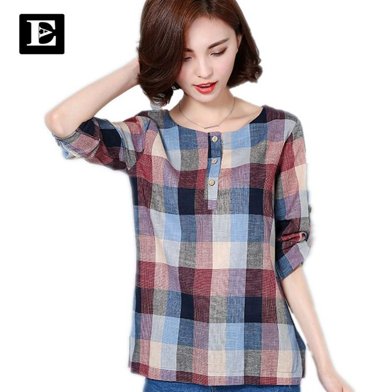 EveingAsky Brand New 2017 Summer Style Plaid Print long Sleeve Shirts Women Plus Size Cotton Linen Blouses Casual Tops 1713#