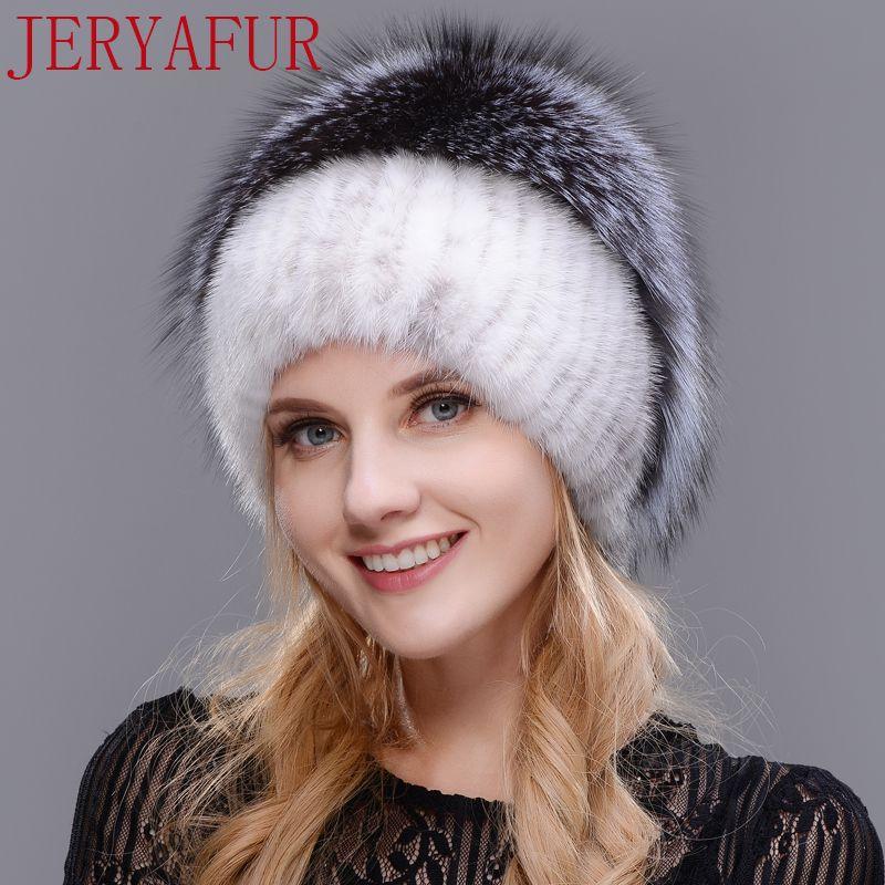 JERYAFUR 2017 Russe bonnet tricoté nouvelle liste vison et renard chapeau réel chapeau de fourrure chapeau d'hiver femme ski cap protection oreille livraison envoyer