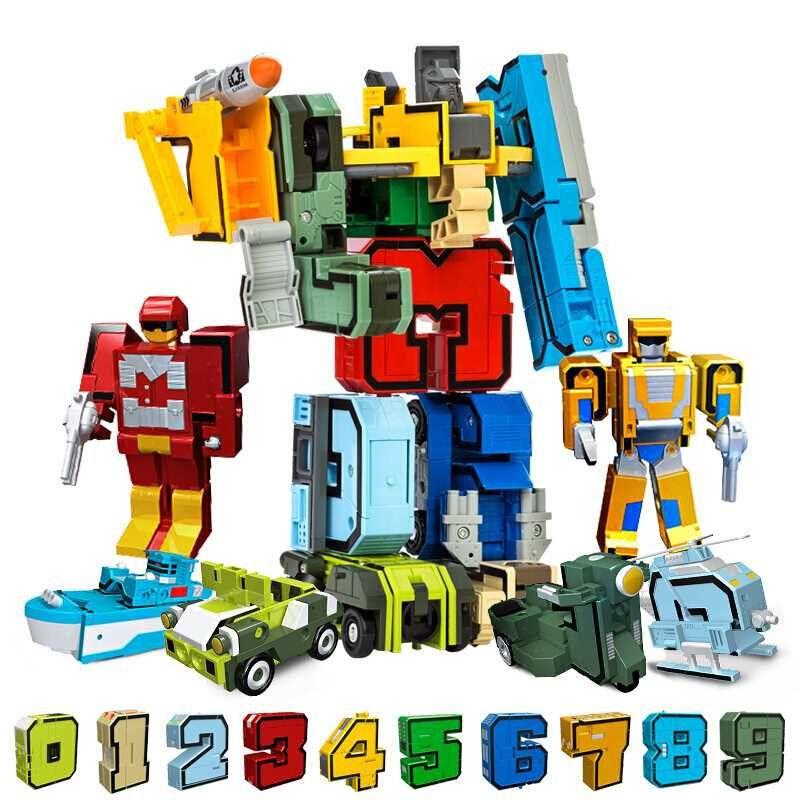 10 pièces Transformation nombre Robot déformation chiffres LegoINGs ville bricolage créatif blocs de construction ensembles amis créateur jouets cadeaux