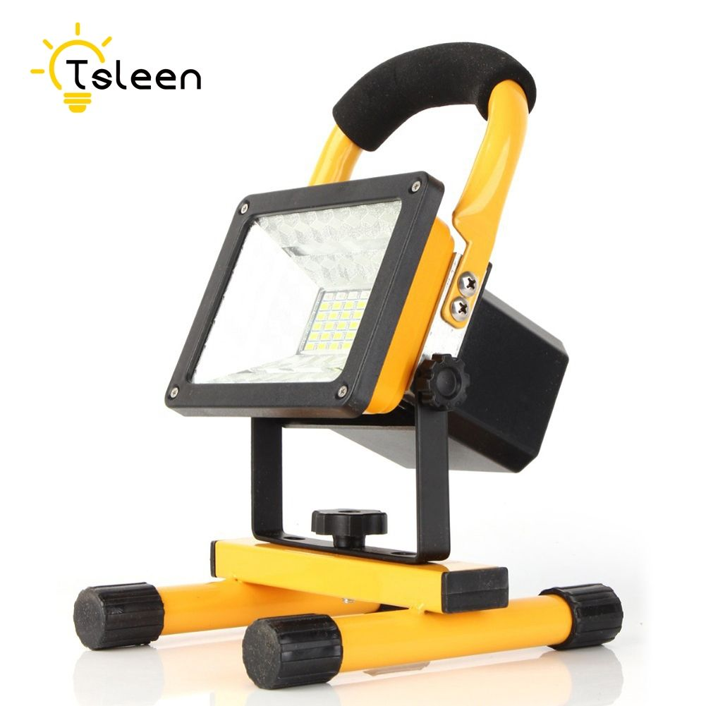 TSLEEN Outdoor Lighting Led Spotlight Reflector LED Flood Light +18650 Battery +Wall Charger Floodlight Projector Led Waterproof
