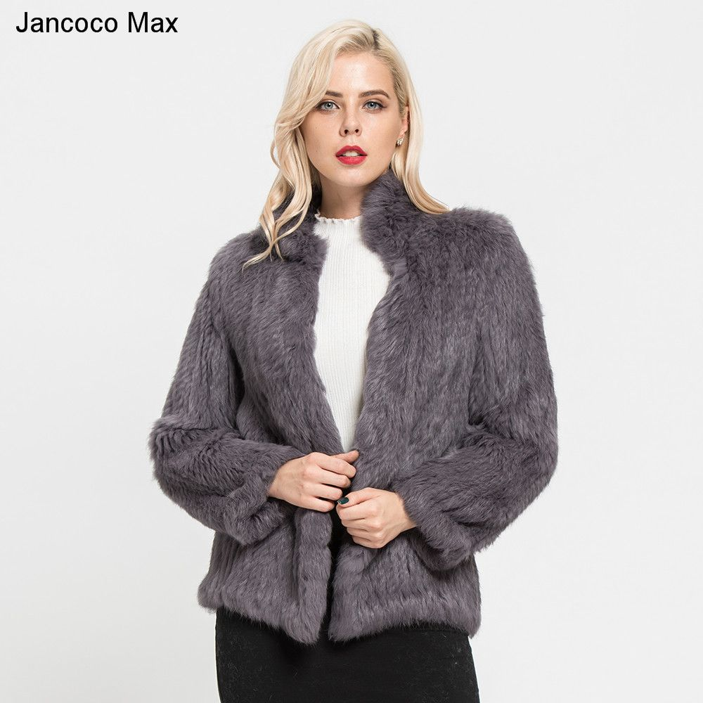 Jancoco Max 2018 New Thick Knitted Real 100% Genuine Rabbit Fur Coat Women's Winter Fashion Style Ladies Jackets S7096