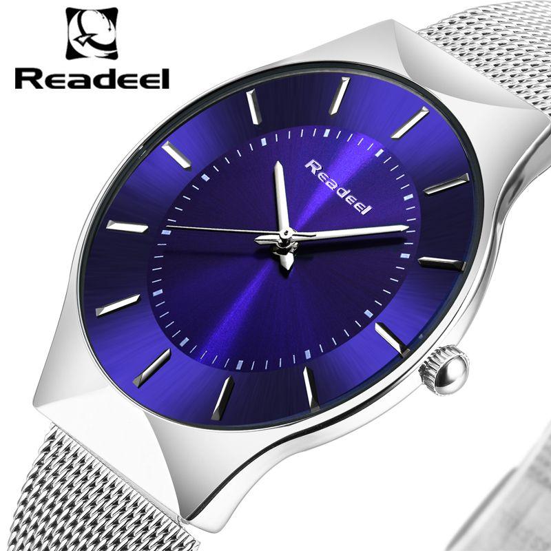 Readeel mens relojes Top marca de lujo hombres de acero inoxidable pulsera Relojes ultra delgado reloj de cuarzo hombres Erkek kol saati