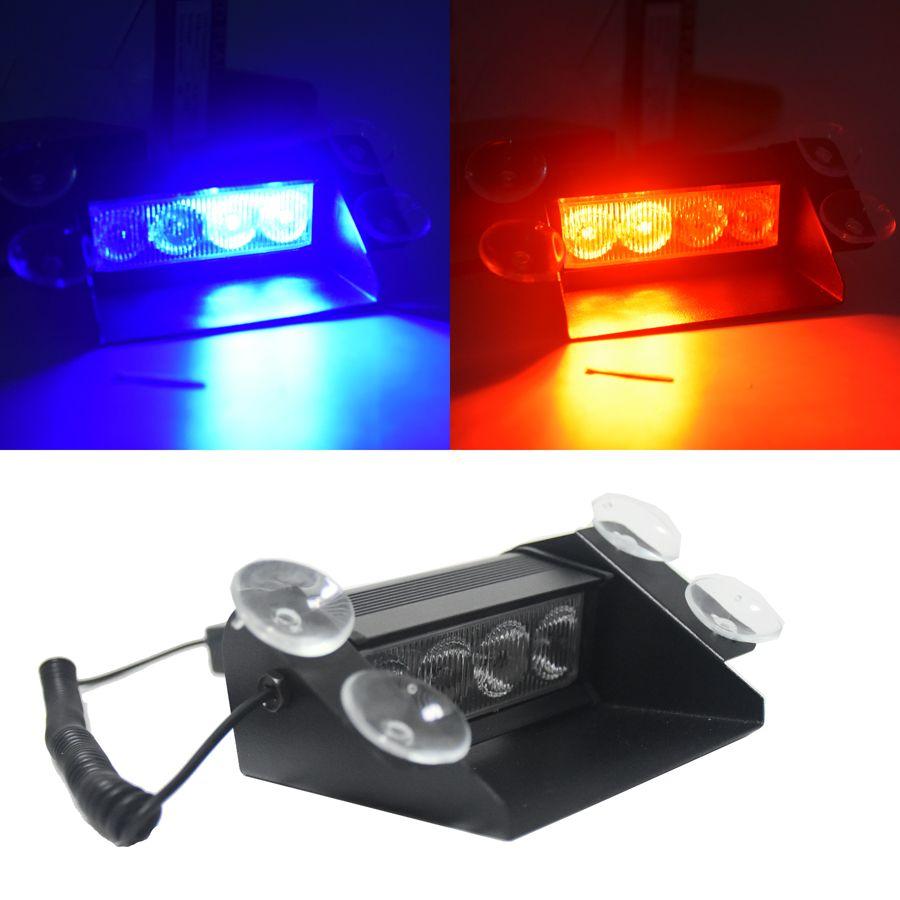Nouvelle Voiture Style 4 LED Rouge Bleu Jaune Bleu Voiture De Police Strobe Flash Light Dash D'urgence 3 Clignotant Brouillard Lumières 3 style