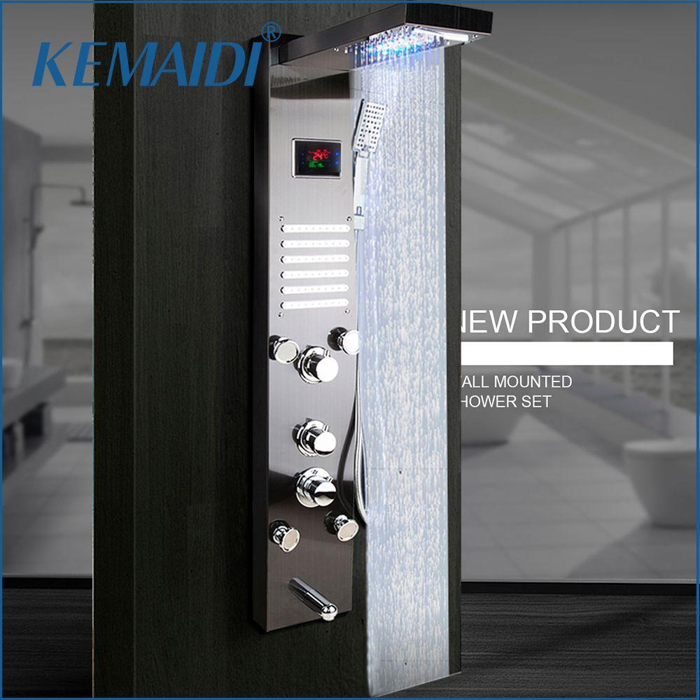 KEMAIDI Schwarz Nickel Gebürstet Digitalen Display Dusche Panel Spalte LED Regen Wasserfall Dusche Spa Jets Bad Dusche Mixer Wasserhahn