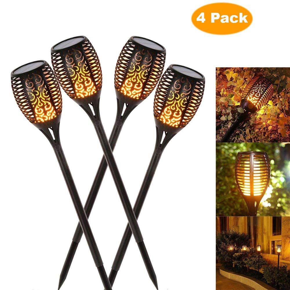 Lampe à flamme solaire scintillante IP65 LED étanche décoration de jardin paysage lumière pelouse lampe chemin éclairage torche lumière spot