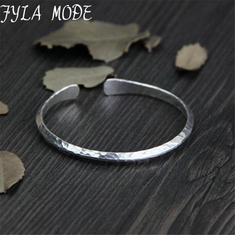 13g Petit Antique Argent Bracelet Femmes 925 Silver Cuff Bracelets Simple Design En Métal Mince Bracelets Bracelets Pour Unisexe joyeria