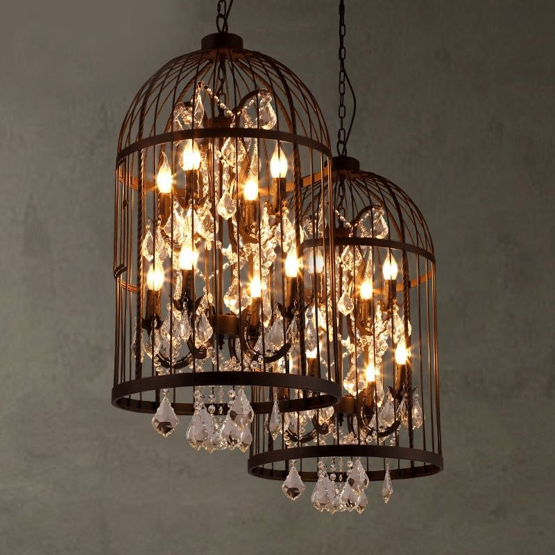 American country vintage iron bird cage chandelier retro villa staircase crystal pendant lamp home deco rust iron light fixture
