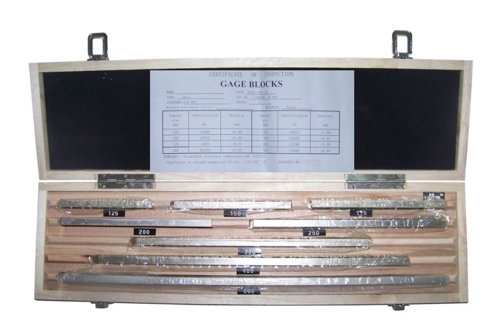 Block gauge set, block gauge 125-500mm,8pcs/set, 1 Grade