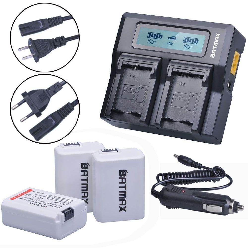 3Pcs 2000mAh NPFW50 NP-FW50 NP FW50 Battery Accu+ Fast LCD Dual Charger for Sony Alpha 7 a7 7R a7R 7S a7S a3000 a5000 a6000 A55