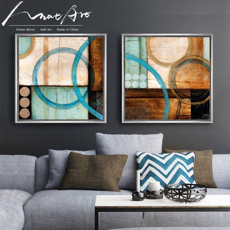 Cercles bleus et bruns moderne peinture abstraite impressions sur toile affiche de bureau décoration cuadros pour salon décor à la maison