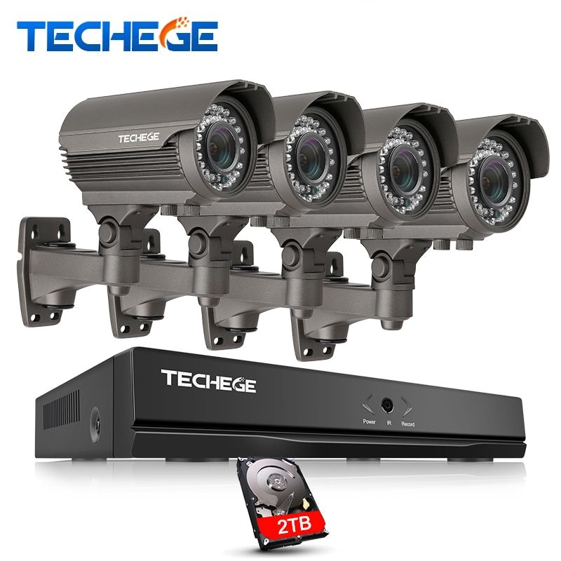 Techege 2MP CCTV System 4CH POE NVR 1080P 2.8-12mm manual Lens 3000TVL 1080P POE IP Camera Waterproof Security Surveillance Kits