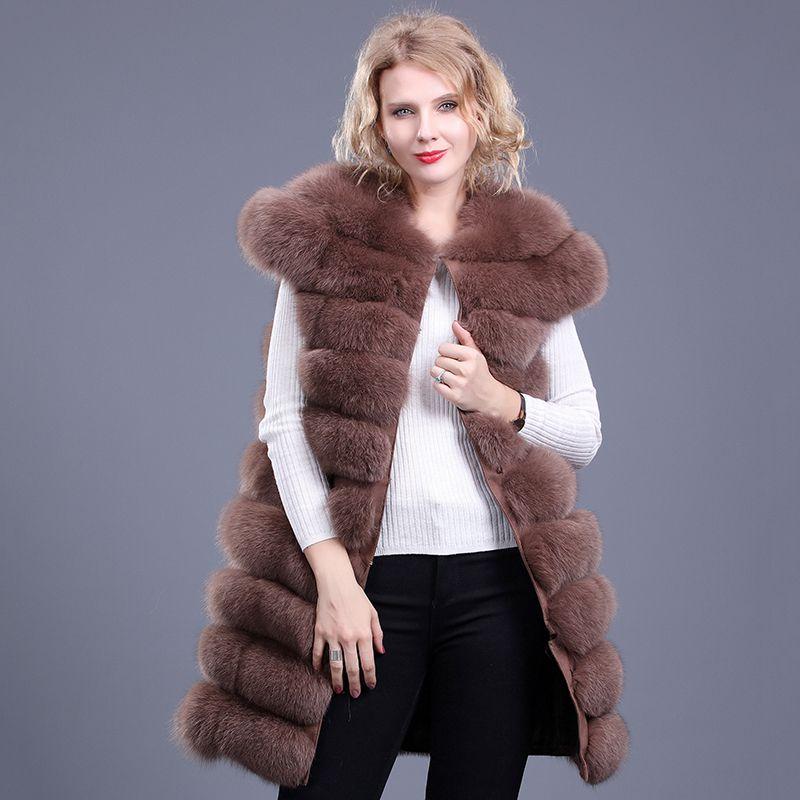 Luxury Real Fur Vest Winter Women Fur Coat Warm Fox Fur Coat Vests High-Grade Long Vest Women's Jacket Sleeveless Long Fur Coat