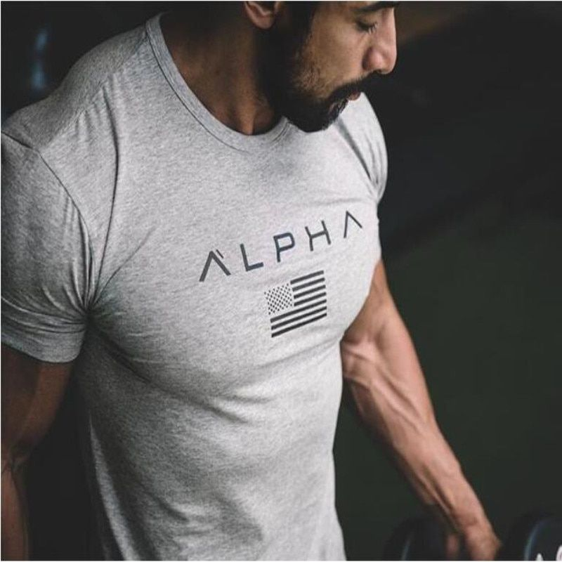 ALPHA 2018 New Brand Clothing Gyms Tight T-shirt Mens Fitness T-shirt Homme Gyms T Shirt Men Fitness Crossfit Summer Top Tees