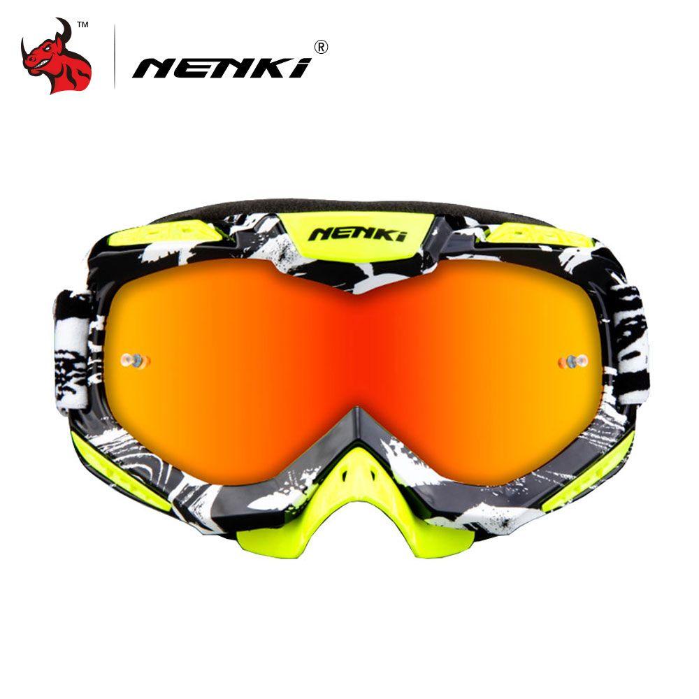 NENKI Motocross Goggles Motorcycle Racing Eyewear Skiing Snowboard Glasses Colorful Lens Unisex DH MTB Glasses Single Lens