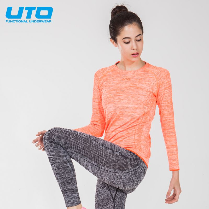 UTO Women's Sports Suits Autumn Winter Long Sleeve T-Shirt COOLMAX Quick Dry Running Fitness UTO966201