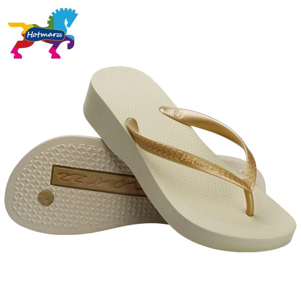 Hotmarzz femmes à talons hauts plate-forme sandales plage pantoufles Wedge tongs mode diapositives chaussures d'été femme maison pantoufles