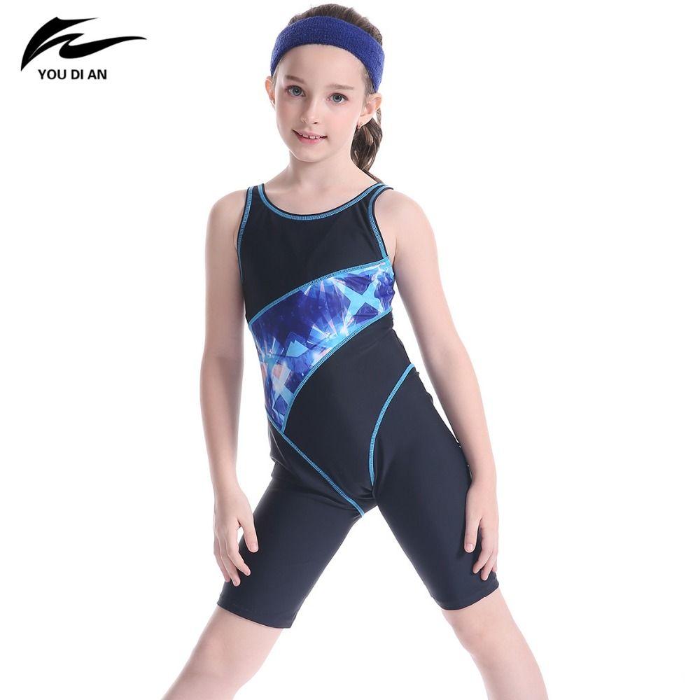 Heißer Verkauf Kinder Bademode YOUDIAN Marke Neue Art Print Patchwork Halter Badeanzug Nette Mädchen Professionelle Sport Style Beach Wear