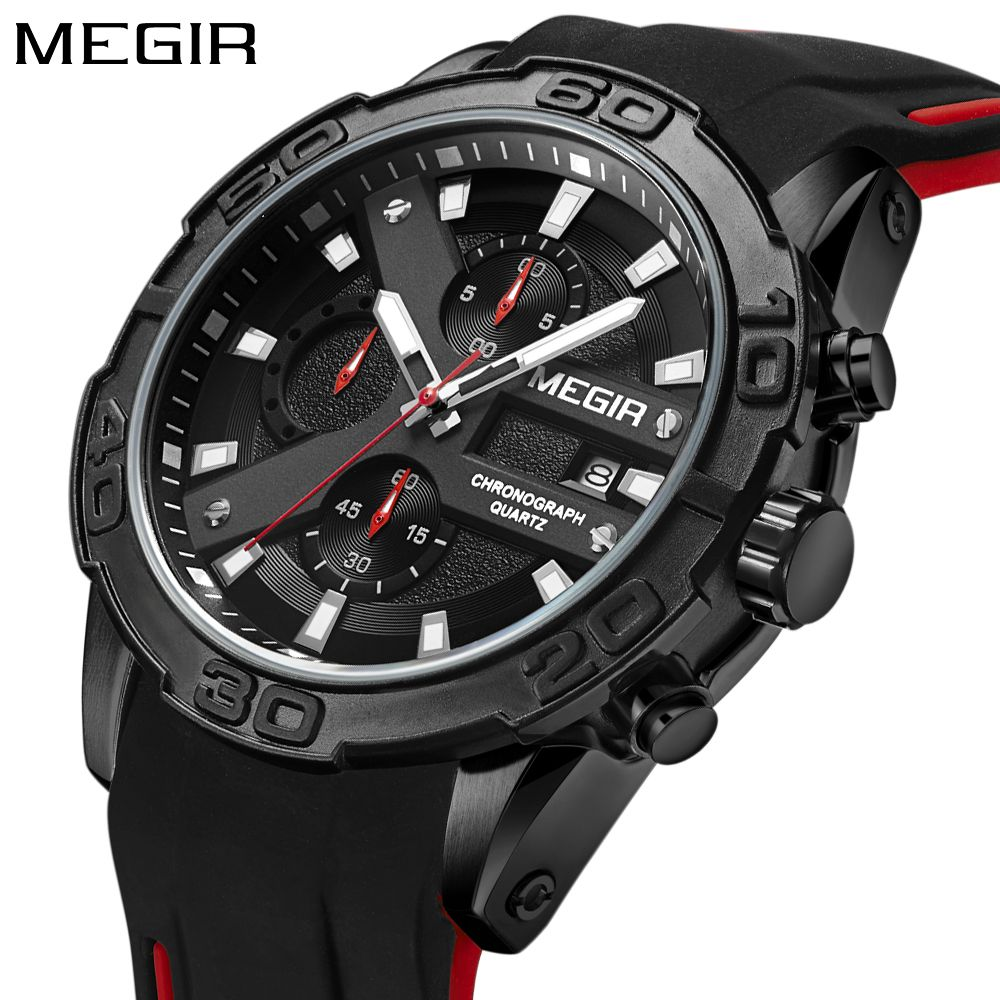 MEGIR Top Brand Luxury Sport Watch Men Silicone Quartz Watch Army Military Chronograph Men's Wrist Watches Boys Clock Men 2018