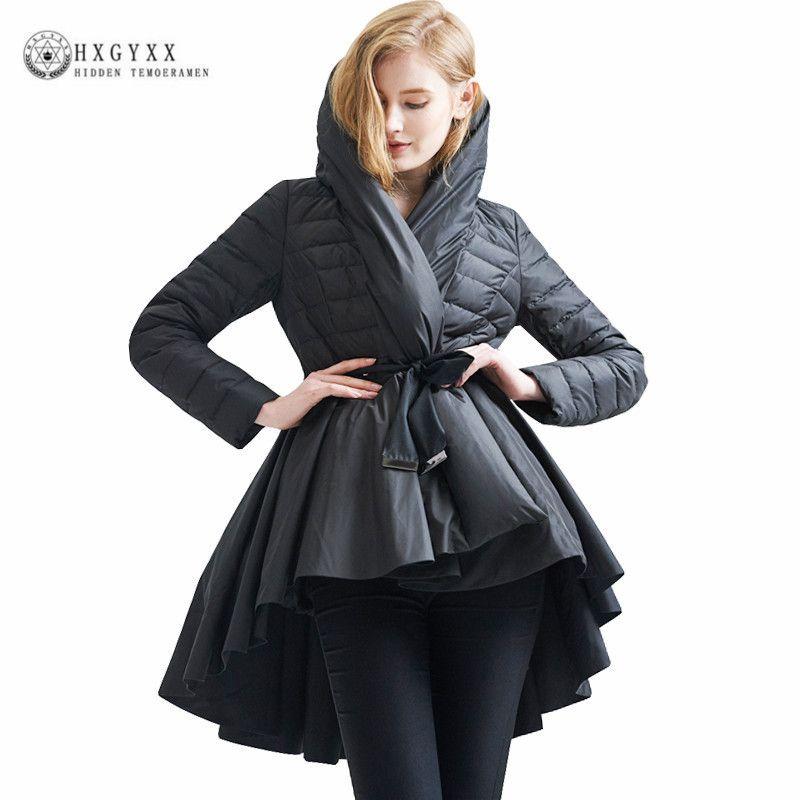 Brand Design 90% White Goose Down Coat Woman Winter 2017 Puffer Down Jacket Hooded Parka Multi-layer Irregular Outwear Okb284
