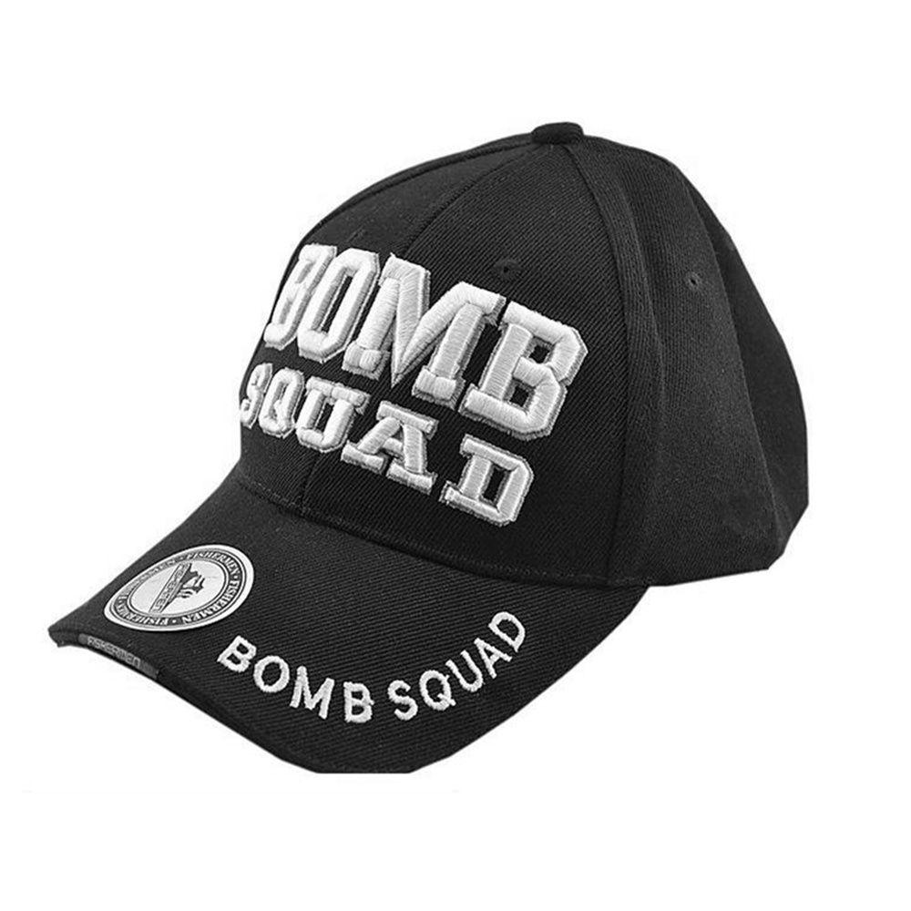 sport baseball cap and hat man cap Bomb Squad logo Size adjustable black Tan