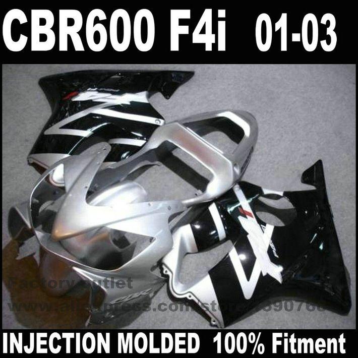 SPRITZGUSS hohe grade verkleidung kit für HONDA CBR 600 F4i 2001 2002 2003 silber schwarz verkleidung-set CBR600 01 02 03 NK49