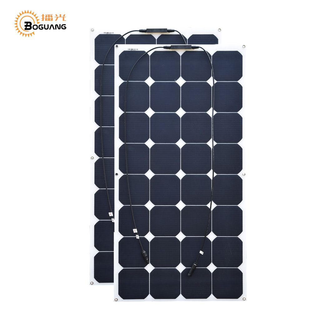 BOGUANG 100W 18V 2pcs ETFE flexible solar panelfor RV Boat Golf Marine Yachts Home use bendable light 21% 32pcs cell high grade