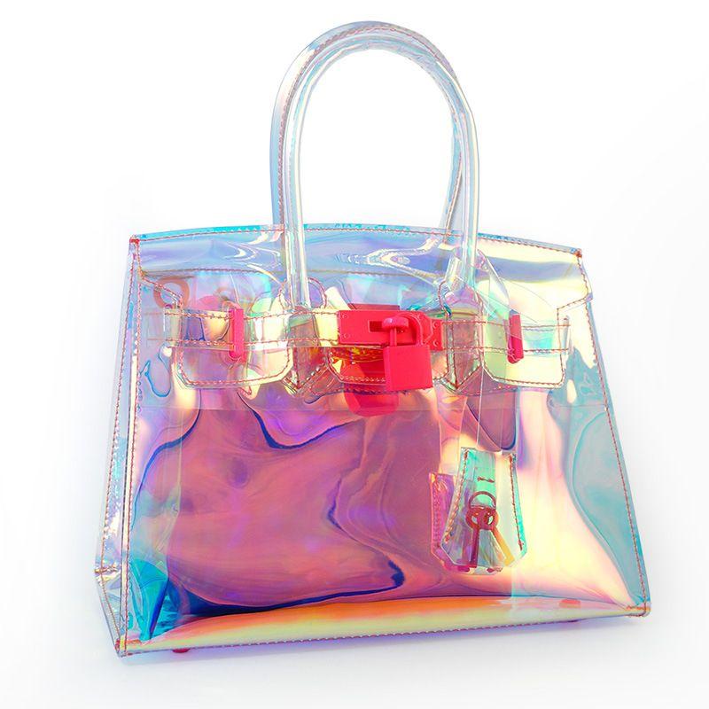 OCEANBS Neue Transparent Hologramm Laser Umhängetasche Frauen Rosa Gelee Schulter Tasche Weibliche Harajuku Große Tote Mädchen Handtaschen Bolsas