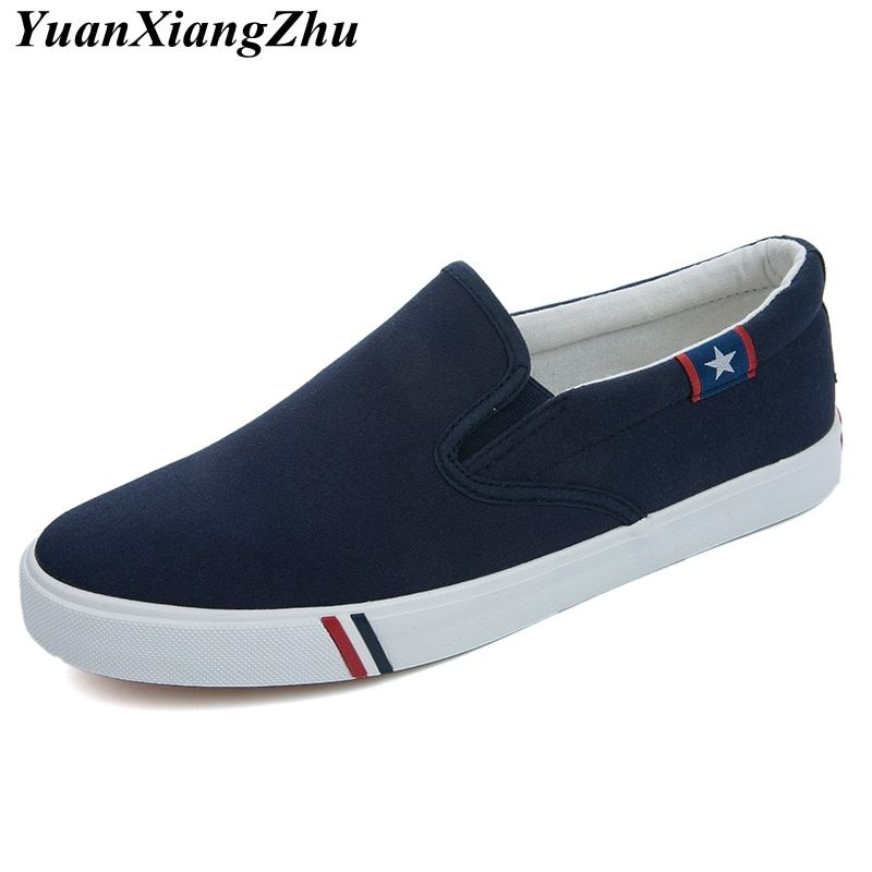 Men Canvas Shoes Simple Casual Mens Loafers 2019 Autumn High Quality Anti-Slip Comfortable Vulcanized Shoes Man Flats Size 35-47