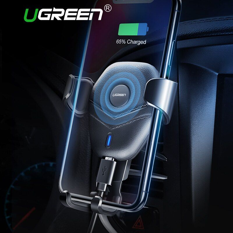 Ugreen Car Mount Qi Wireless Charger for iPhone XS X XR 8 Fast Wireless Charging for Samsung Galaxy S9 S8 Car Phone Holder