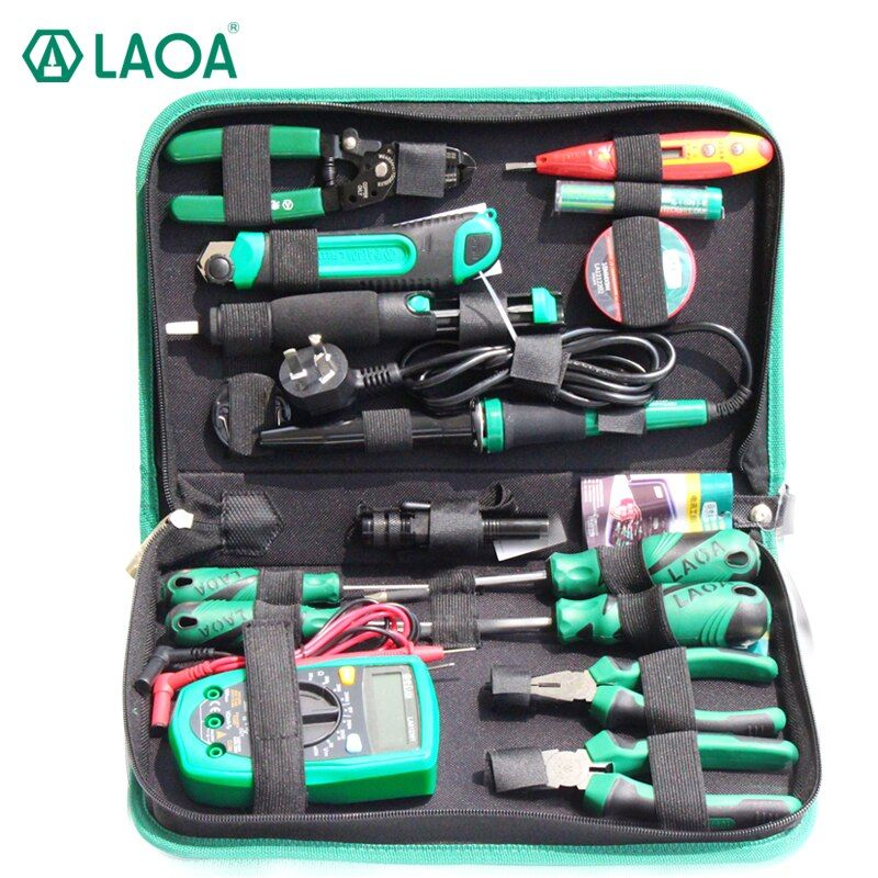 LAOA 16PCS Electric Soldering Iron Multimeter Telecommunications Repair Tool Set Screwdriver Utility Knife Pliers Handle Tools
