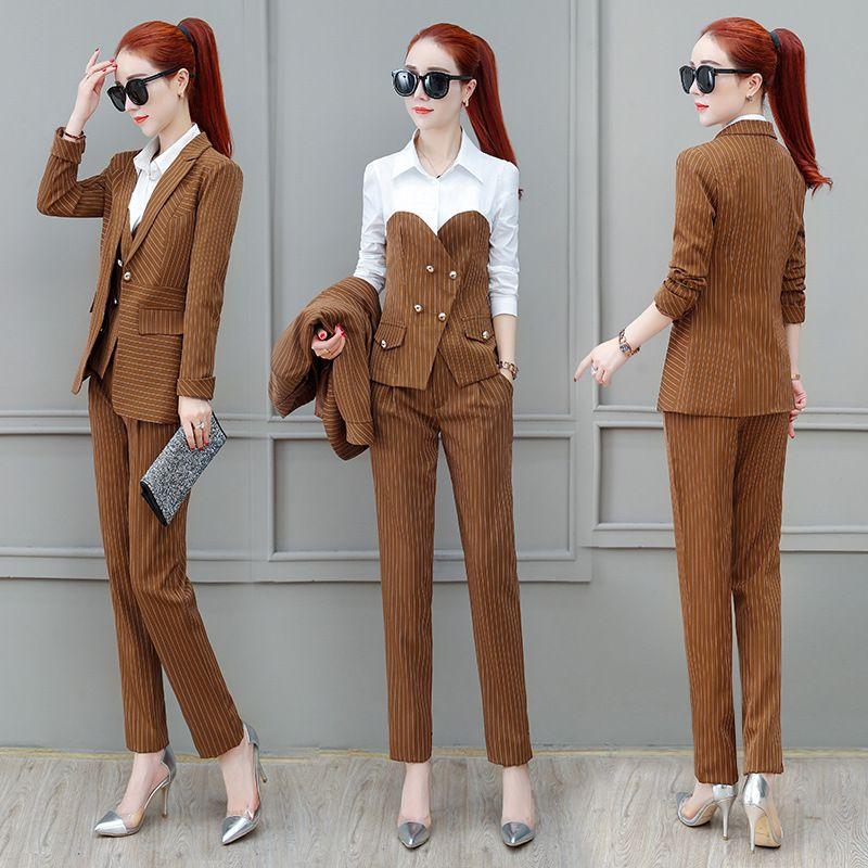 Frauen Sets Work Pant Anzüge 3 stück Set für Frauen Einzigen schnalle Gestreiften Blazer Jacke & Hosen hemd Büro dame Anzug Feminino