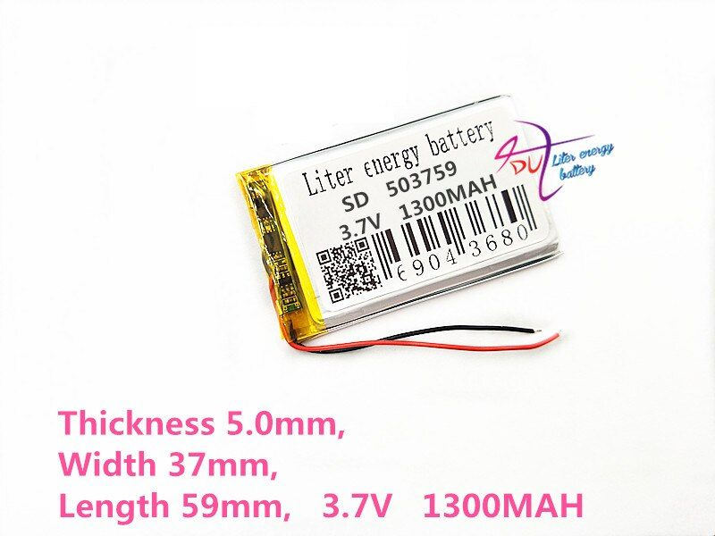 Litres d'énergie batterie 3.7 v 1300 mah lithium polymère batterie 503759 navigateur MP3 GPS universel rechargeable batterie
