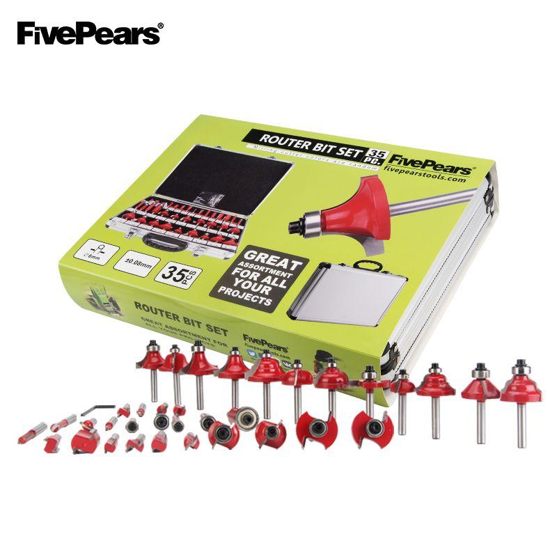 FivePears 6mm Schaft 35 stücke Router Bits Set Professionelle holzbearbeitung Wolfram Hartmetall Fräser Mit Metall Lagerung Box