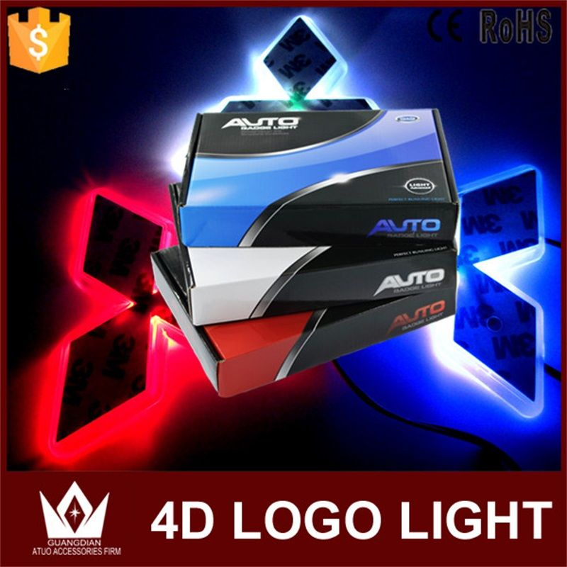 Tcart 1Set Car LED Light Front Car Emblem Lights 4D Car Badge Auto Led Bulb Light EL Cold Logo Lamps For Mitsubishi ASX For CUV