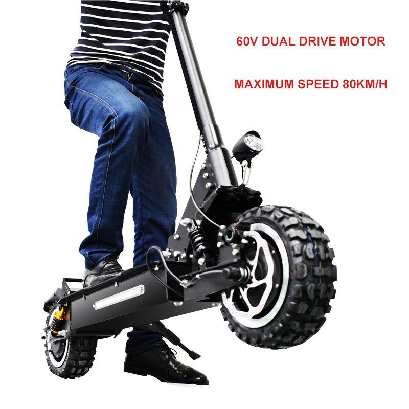 12 zoll Elctric roller 60V3200w Vorne hinten dual-drive off-road elektroroller ebike maximale 80 km/std Klapp elektrische fahrrad