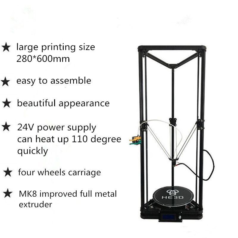 HE3D K280 delta large size Auto- leveling single extruder the newest DLT-K280 3D printer DIY kit with heatbed
