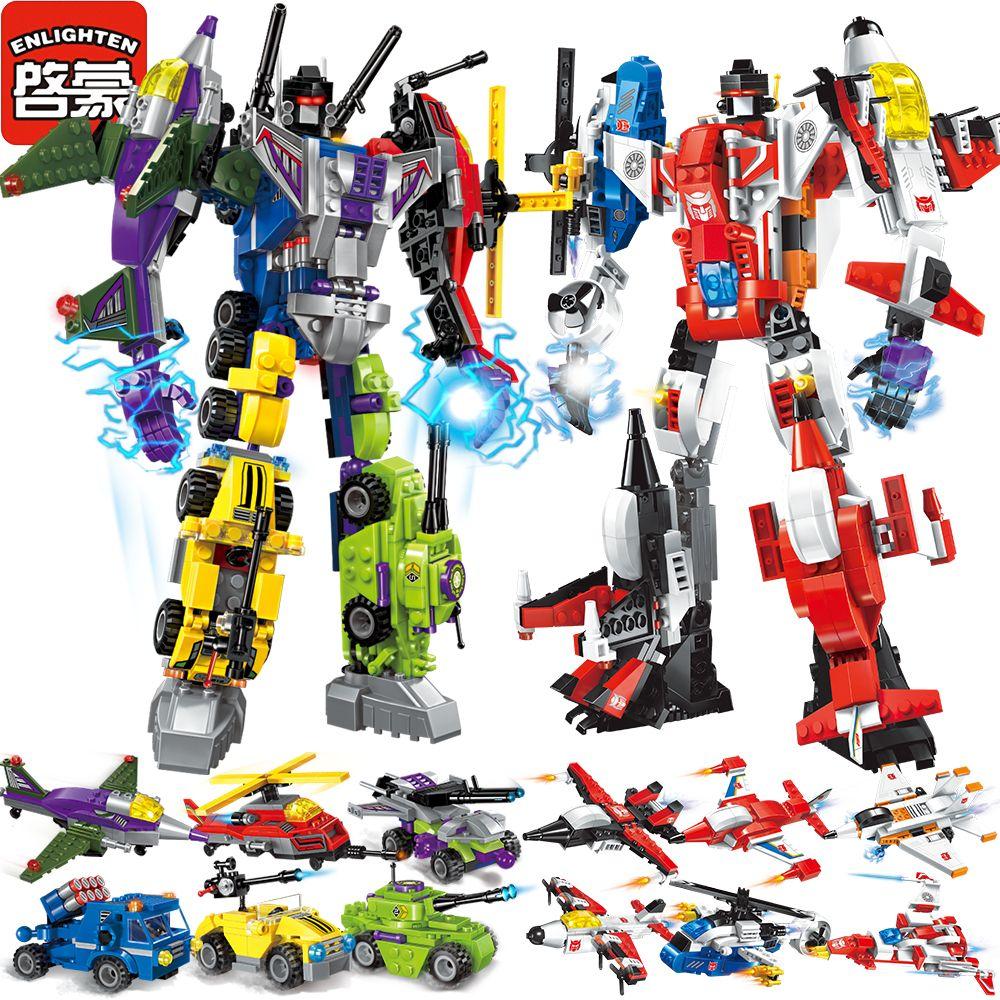 Éclairer Mecha Éducatifs Blocs de Construction Jouets Enfants Camion Robot Hero Destroyer De Voiture Véhicule Compatible Avec Legoe Autocollants