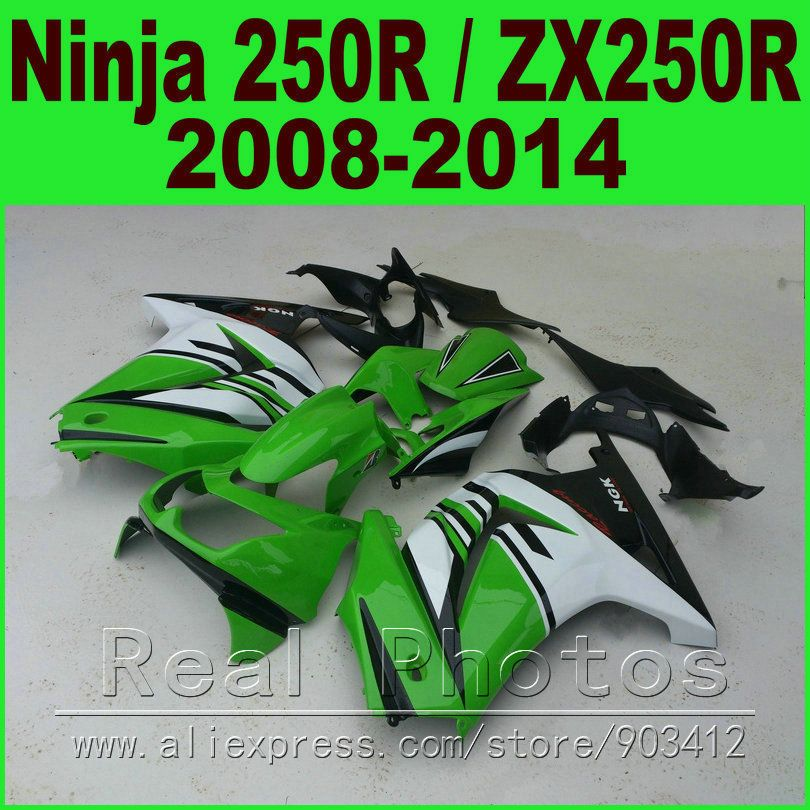 Green white Kawasaki Ninja 250r Fairings body kit EX250 2008 - 2014 year model ZX 250 08 09 10 11 12 13 14 fairing kits R9L7