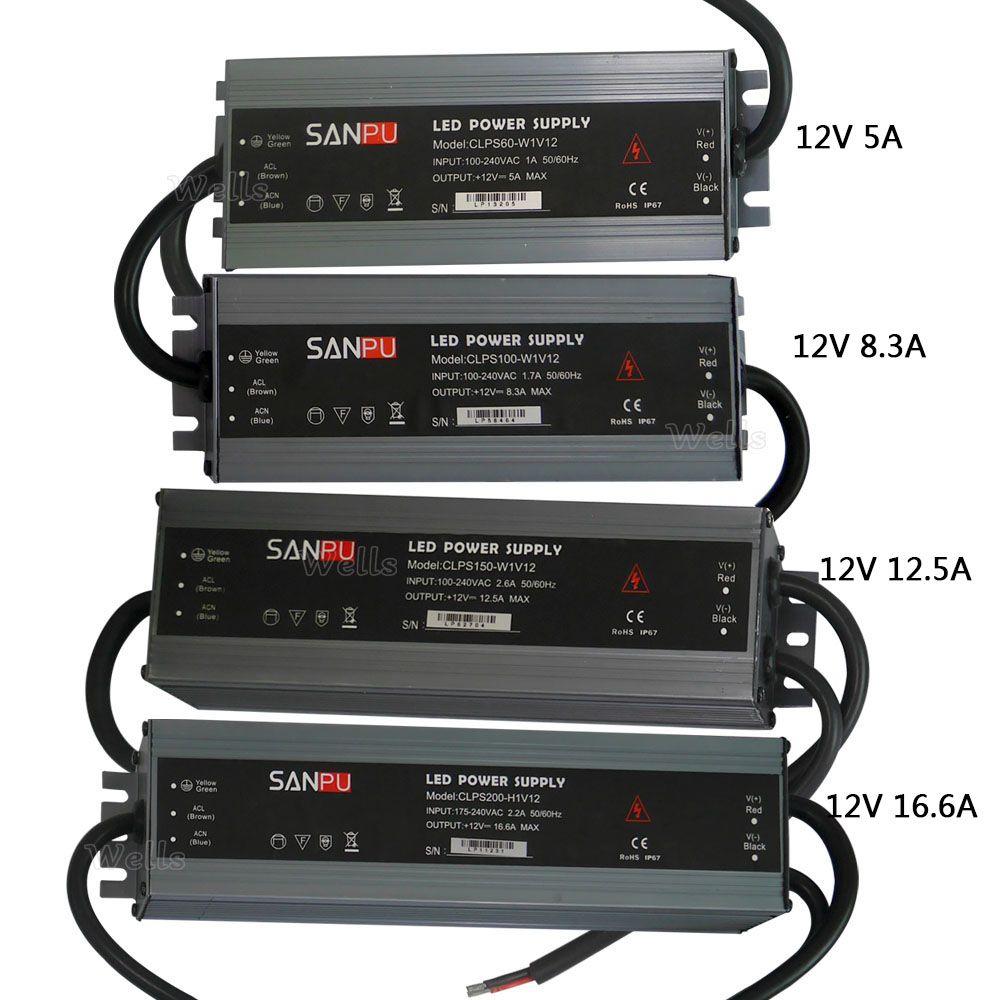 LED ultra-thin waterproof power supply IP67 DC12V transformer 60W/<font><b>100W</b></font>/120W/150W/200W led Driver for led strip