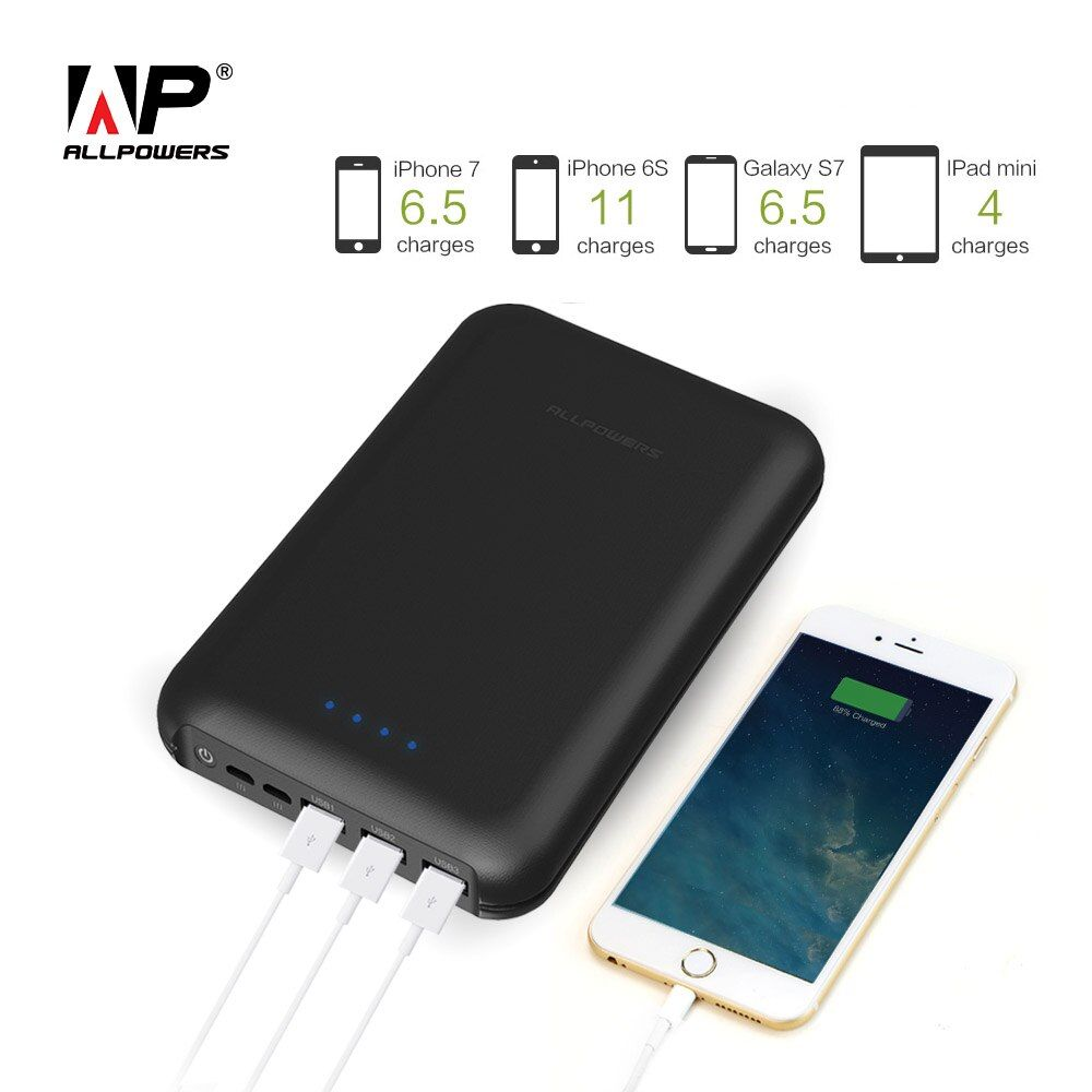ALLPOWERS 30000mAh Power Bank with Triple USB Output, Dual Input Portable External Battery Pack Quick Charge for Mobile Phones