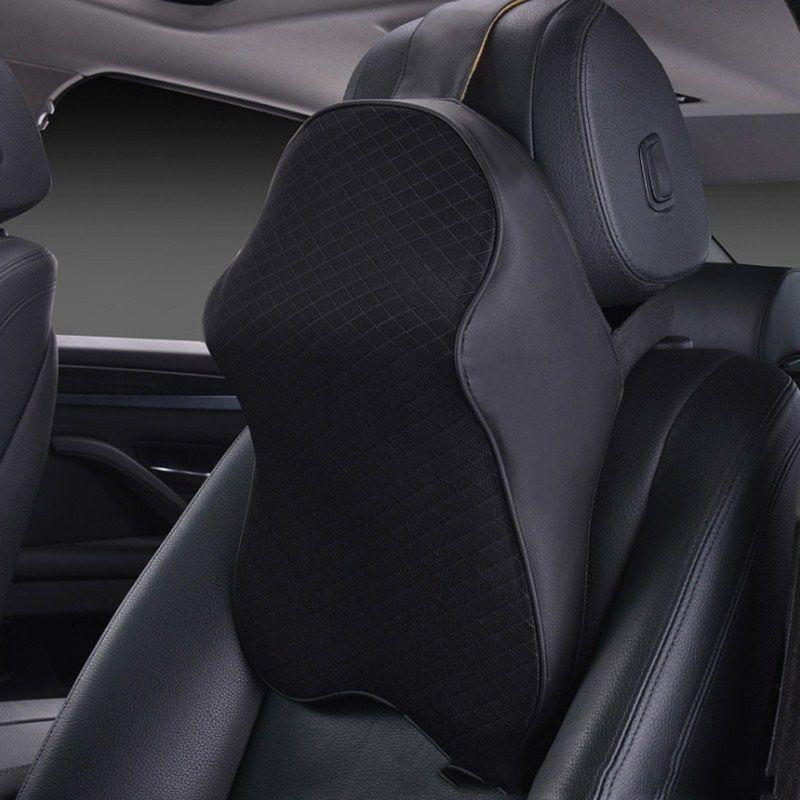 MALUOKASA 3D Space Memory Foam Car Neck Pillow Head Restraint in The Car Headrest Pillow <font><b>Automobile</b></font> Auto Neck Pillow Leather