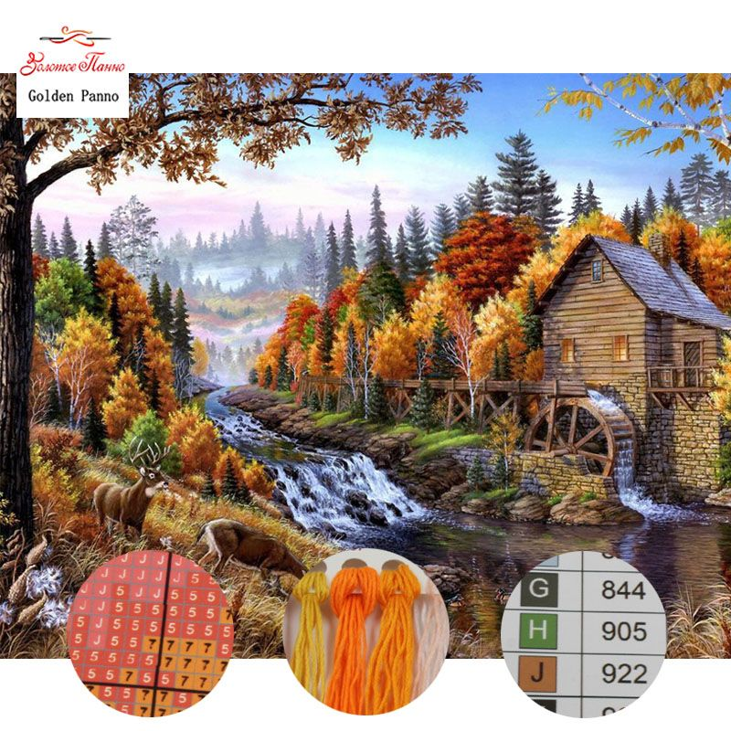 Golden Panno Needlework DIY DMC 14CT 11CT printed Cross stitch Embroidery kits houses and river white canvas Counted 830