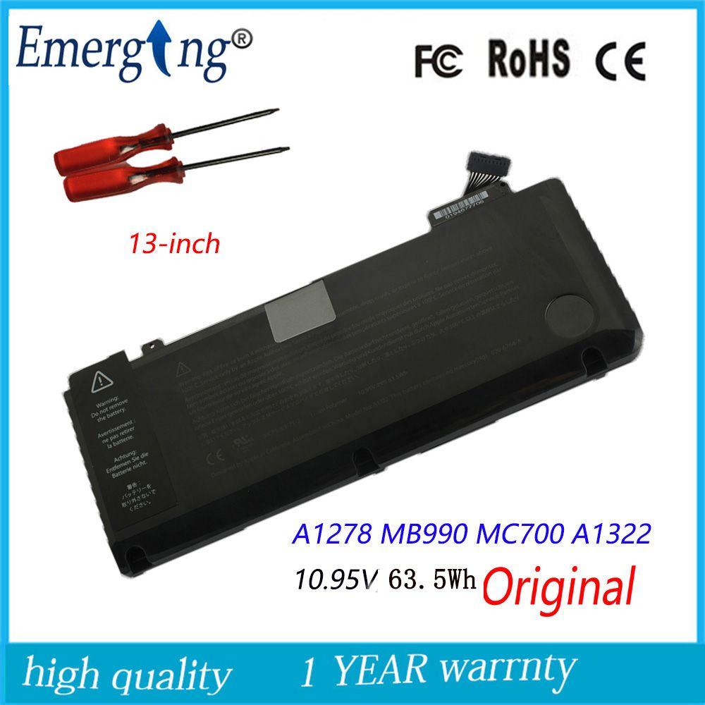 10.95 v 63.5Wh nouvelle batterie d'ordinateur portable originale A1322 pour APPLE Macbook Pro 13
