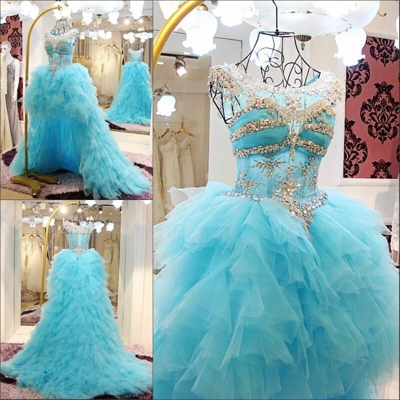 Ball Gown Ruffle Tulle Crystal Beaded Diamond Luxury Blue Evening Dresses 2019 New Fashion Party Gowns Dress Evening Gown CH41M