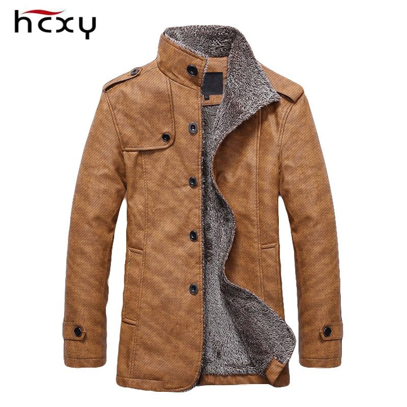 HCXY Brand 2016 Men's Winter Jacket Men PU Leather Motorcycle Warm Jackets Plus velvet Windbreaker Male Casual Long Coat 4XL