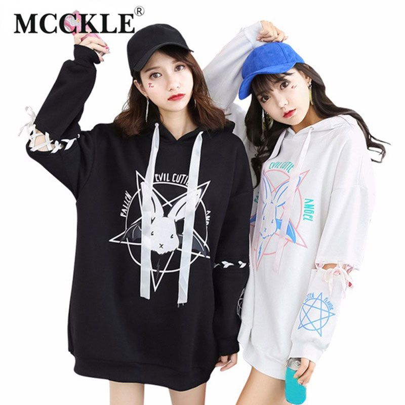 MCCKLE Harajuku Two style Sweatshirt For Women Pattern Kwaii Ladies Hoody Shirts Long Loose Tracksuits Autumn Girl Hoodies