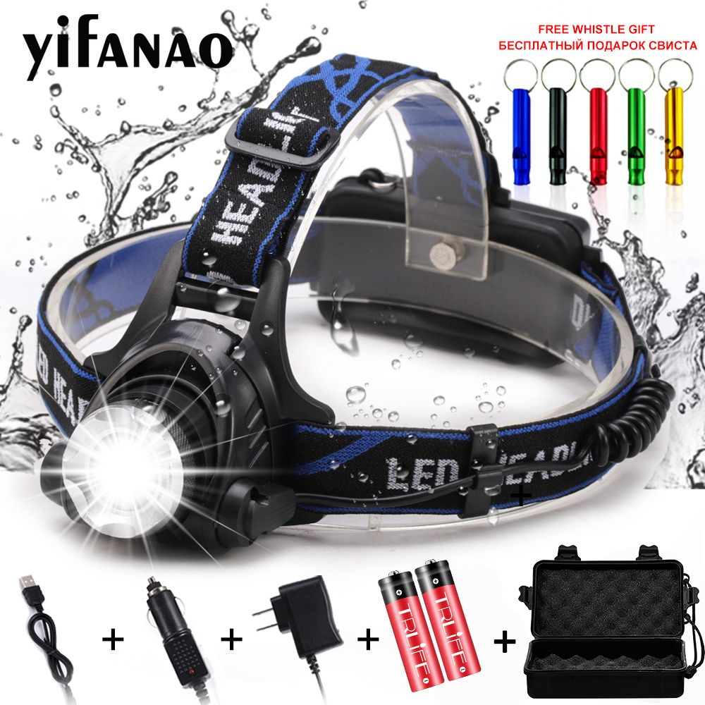 20000LM V6 L2 LED HeadLight Headlamp Fishing Lamp Zoomable Flashlight Lamps 18650 Head Lamp 3 Modes Torch Light