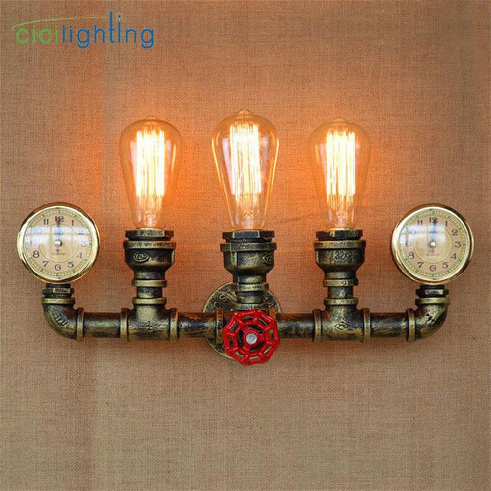 Vapeur punk Loft Industriel fer rouille conduite D'eau rétro mur lampe Vintage E27 applique lumières pour salon chambre restaurant bar