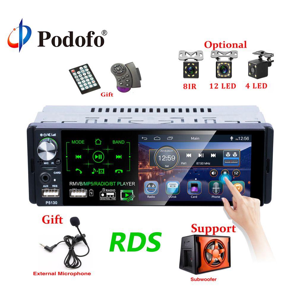 Podofo Autoradio1 din autoradio 4.1 pouces ecran tactile voiture stéréo lecteur MP5 Bluetooth RDS Support Micphone Subwoofer