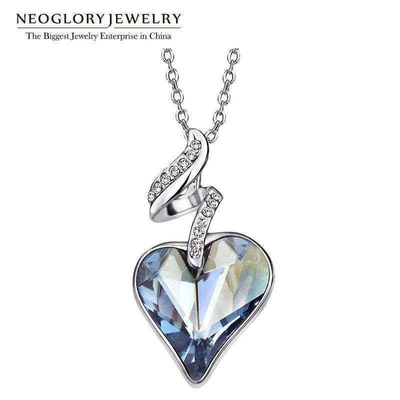 Neoglory Cristal Autrichien Strass Quatre Couleur Chaîne D'amour de Coeur Colliers et Pendentifs Pour Les Femmes 2017 Cadeau Inde Bijoux JS4 HE1